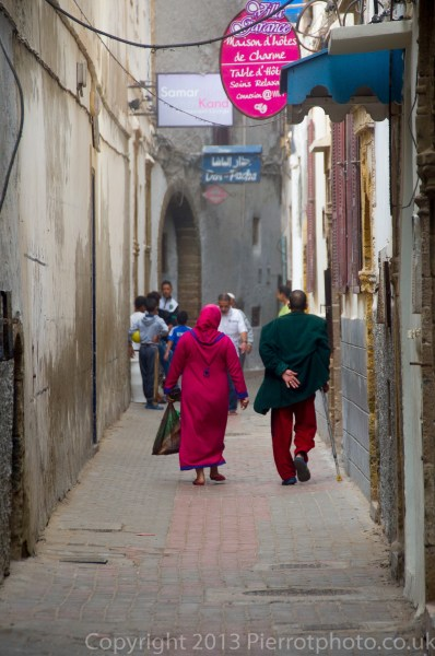 Moroccan couple in the medina in Fez, Morocco.