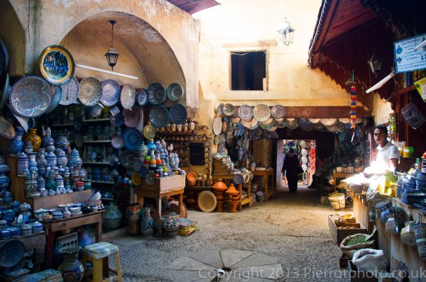 A courtyard selling ceramics in the medina in Fez, Morocco