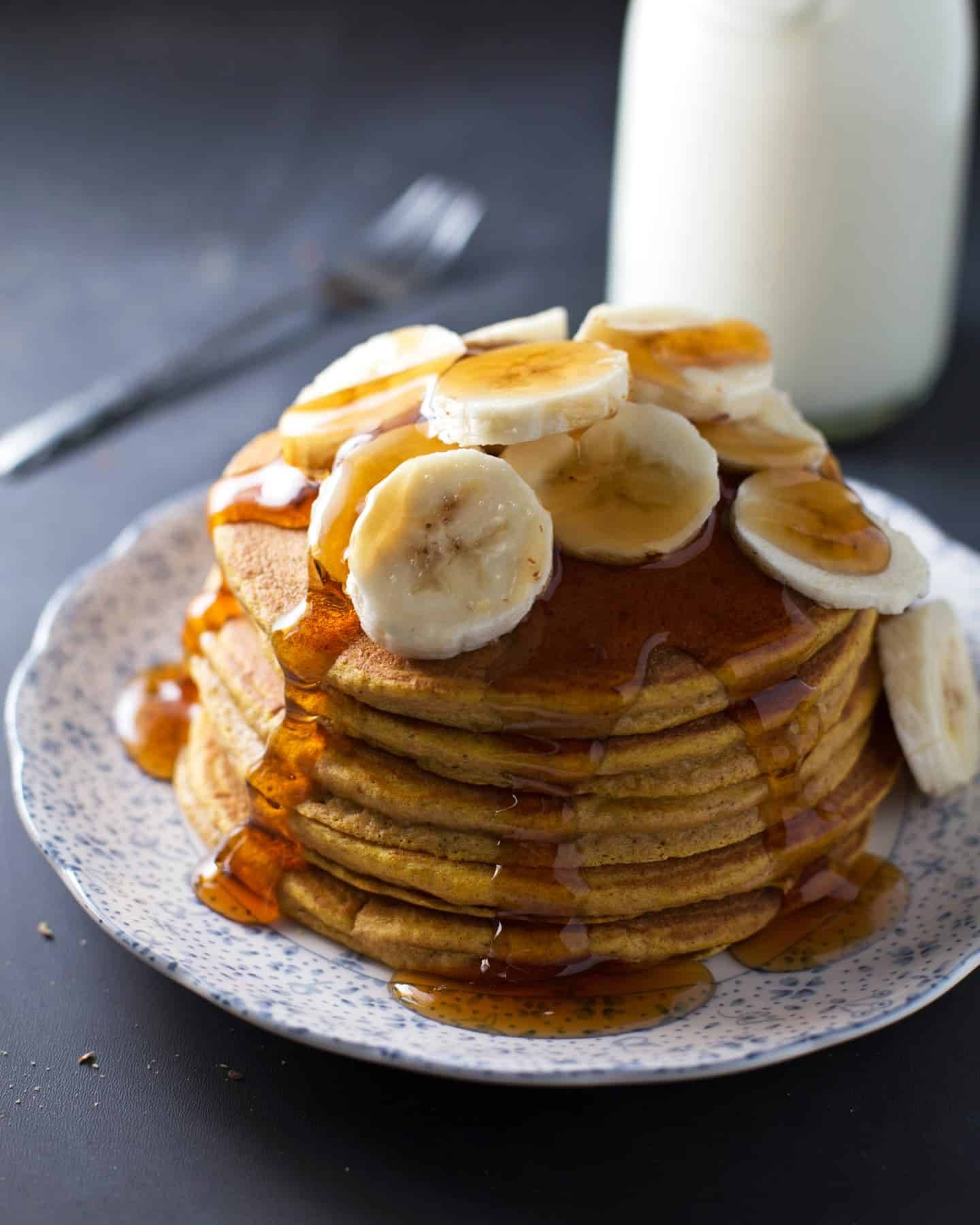 Indulging Peanut Butter Pancakes Bananas Ever Whole Wheat Pumpkin Pancakes Recipe Pinch Eggs Calories Pancakes Yum Calories Whole Wheat Pumpkin Pancakes Stacked On A Plate nice food Calories In Pancakes
