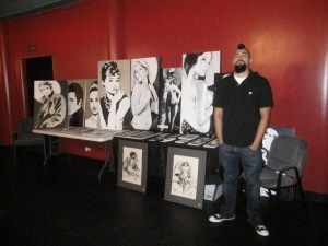 Ramon with his art at Viva Dallas Burlesque