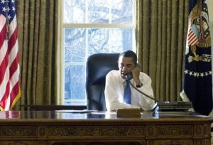 obama on phone in oval office