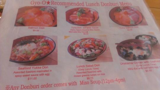 Gyo-O lunch menu