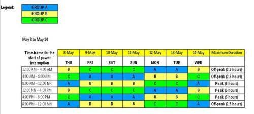 Davao Light Rotational Brownout Schedule starting May 8 2014