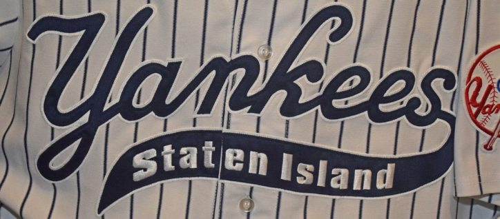 The Staten Island Yankees won four NY-Penn League titles wearing jerseys similar to this style.  (Photo Credit: Robert M. Pimpsner)