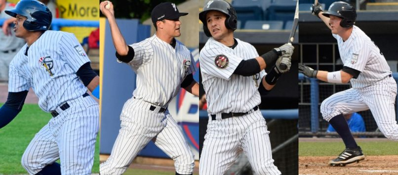Isaias Tejeda, Ty McFarland, Luis Torrens and Connor Spencer represented the SI Yanks in the 2014 NY-Penn League All-Star Game. (Robert M Pimpsner)