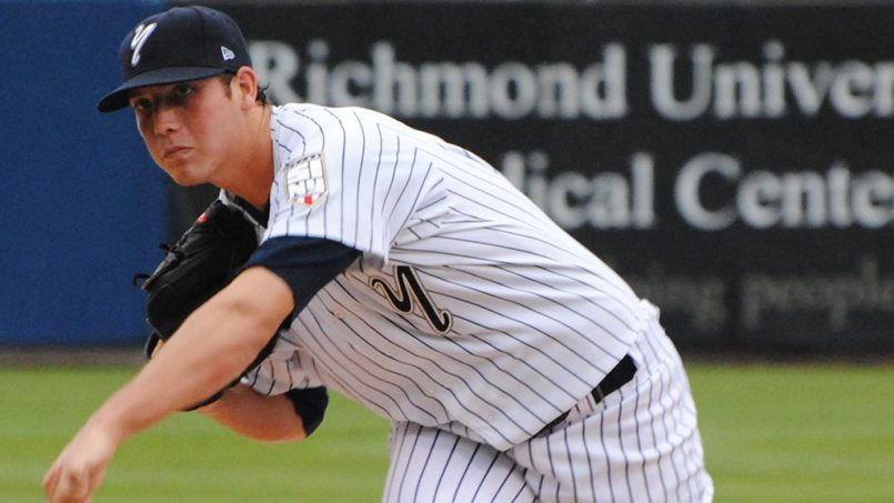 Nik Turley pitching for the Staten Island Yankees in 2010 (Robert M Pimpsner)