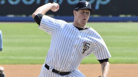 Ty Hensley pitching for the Staten Island Yankees in 2014 (Robert M Pimpsner)