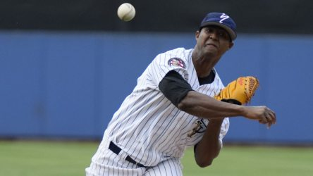 Domingo Acevedo hit 100 MPH twice on the radar gun. (Robert M. Pimpsner)