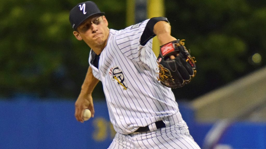 New York Yankees first round pick, 16th overall, James Kaprielian struggled a it in his first start in New York City (Robert M Pimpsner/Pinstriped Prospects)
