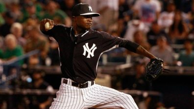 Mar 17, 2015; Tampa, FL, USA; New York Yankees pitcher Domingo German (75) throws a pitch at George M. Steinbrenner Field. Mandatory Credit: Kim Klement-USA TODAY Sports