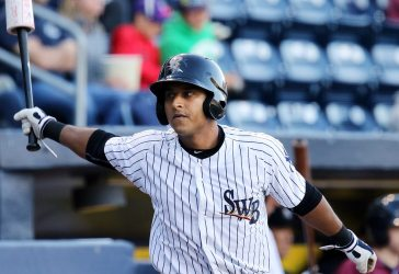 Donovan Solano had a pair of hits in Monday night's RailRiders loss (Photo by Martin Griff).