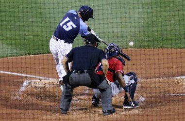 Thunder second baseman Billy Fleming singles in the second inning Monday night. (Photo by Martin Griff)