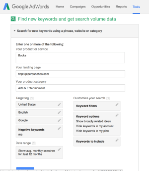 Image of SEO Keyword Planner Tool - Piper Punches