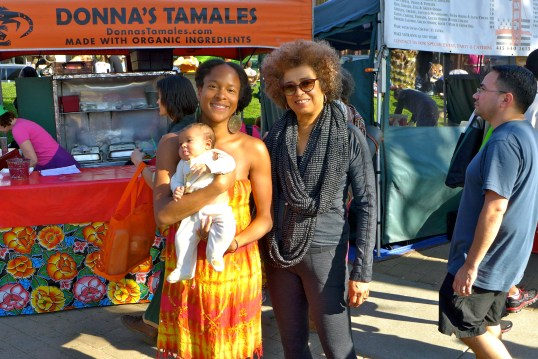 Kira Satya Harper-Zahn (2 months old), Breeze Harper, and Dr. Angela Davis. Jan 25, 2014. Grand Lake Farmer's Market, Oakland, CA.