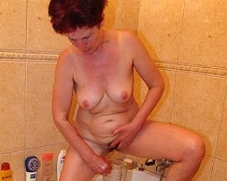 hairy granny peeing