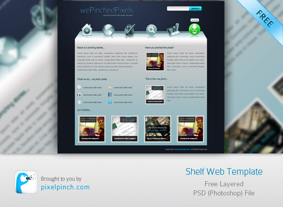 Shelf Web PSD Template for Free