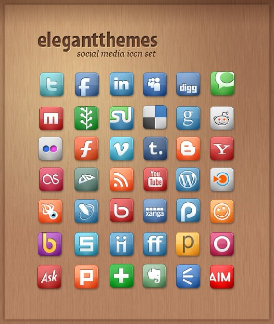 Elegant Themes social Media Icon set Best Free Social Media Icon Pack Collection