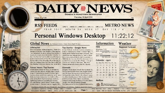 newspaper desktop by tatenokai d39w05t Best Rainmeter Themes / Skins Collection   2011