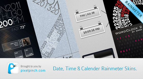 Date Time Calendar Rainmeter Skin 10 Most Wanted Articles Of PixelPinch   100 Articles Milestone