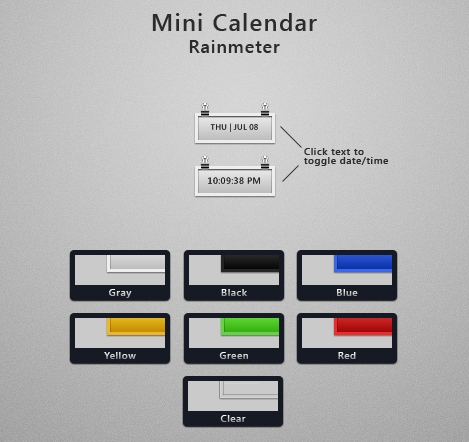 Mini Calendar by murasaki55 Best date, time and calendar Rainmeter skins / themes