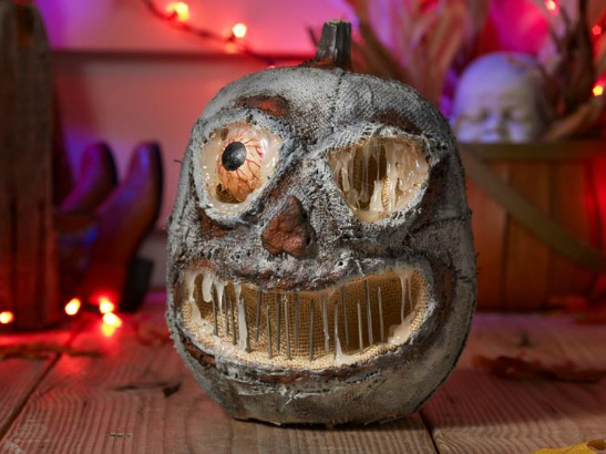 75  No Carve DIY Halloween Pumpkin Decorating Ideas  The Ultimate     Super Scary Faux Concrete Pumpkin