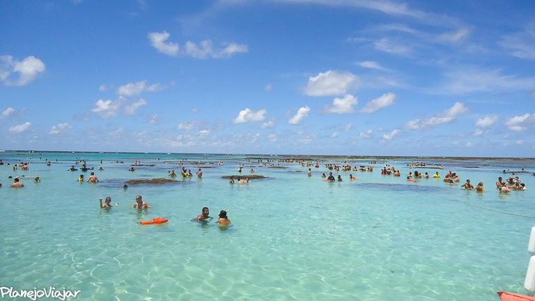 Concentração de pessoas nas piscinas naturais de Maragogi