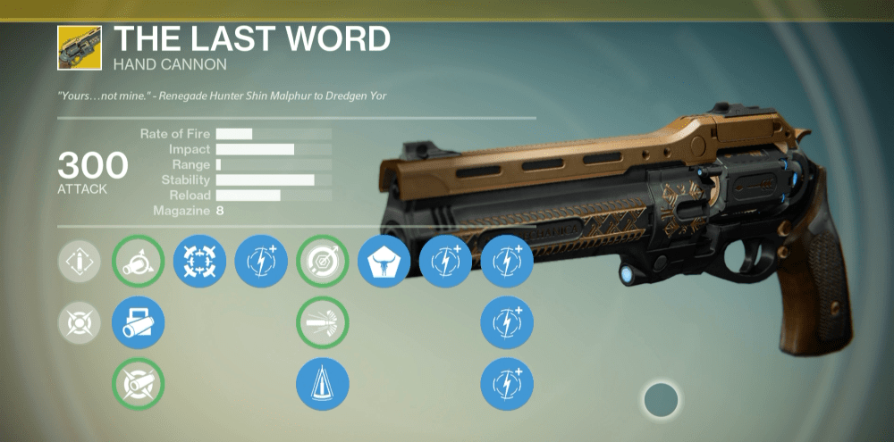 The last word is an exotic hand cannon it can be acquired as a reward
