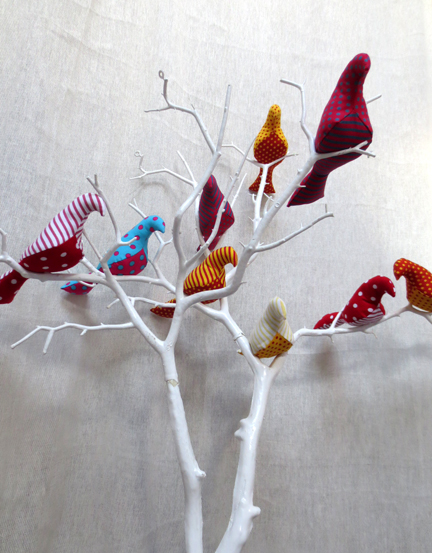 multi fabric birds in tree