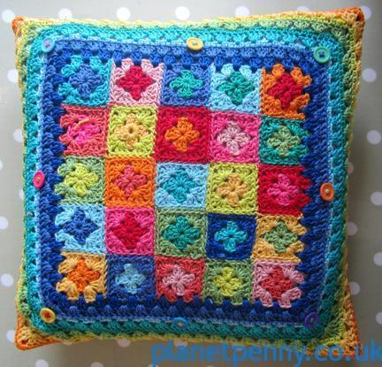 Planet Penny Cotton crochet cushion