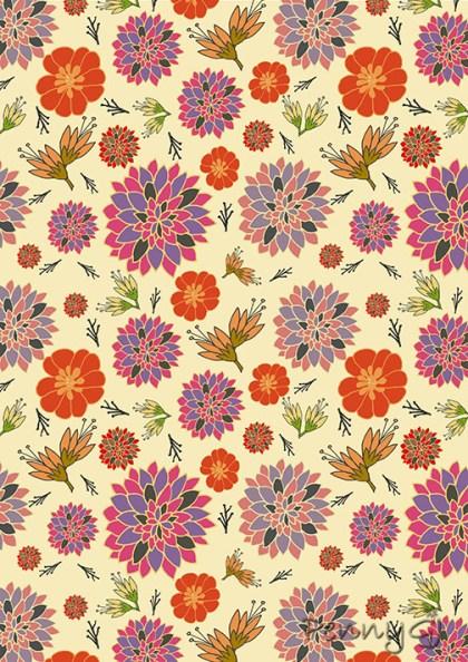 Autumn Colours Bold Flower Pattern - Penny GJ