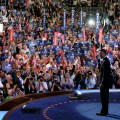 Obama and Biden greet crowd at the 2008 Democratic National Convention in Denver