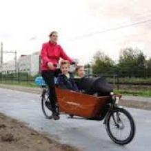 Mom biking kids