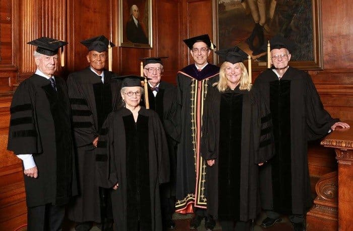 In the Faculty Room of Nassau Hall, Princeton President Christopher L. Eisgruber (third from right) gathers with honorary degree recipients (from left) Mario Vargas Llosa, Harry Belafonte, Deborah Poritz, John Paul Stevens, Ann Dunwoody and David Billington. Photo by Denise Applewhite, Office of Communications.