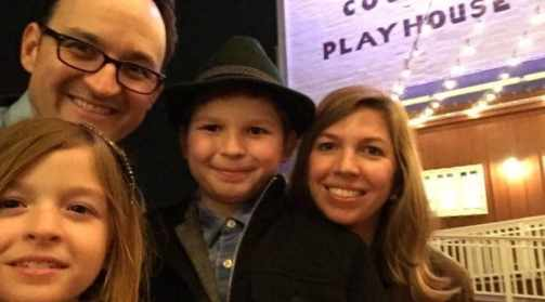 """Princeton resident Michael Dean Morgan with his family. Morgan is making his Broadway debut in """"Amazing Grace""""."""