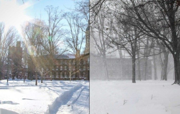 Before and after. A shot of Nassau hall during the storm (r) and Sunday morning (l). Photo: Janik Kiefer.
