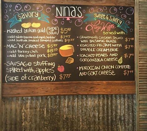 Nina's Waffles Nassau Menu