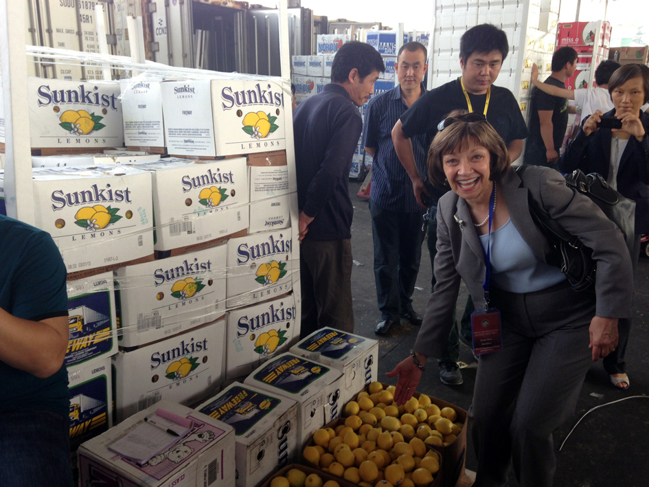 CDFA Secretary Karen Ross searches for California exports at the Jiangnan Fruit and Vegetable Wholesale Market in Guangzhou.