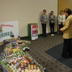 """CDFA's Marketing Services Division constructed this """"CANIFORNIA"""" map in the shape of the state, with appropriately placed veggies, fruits and other donated agricultural items."""