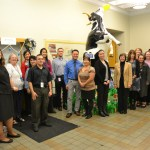 """At CDFA Headquarters, the Administrative Services staff built their """"CDFA Gives Back"""" can display around """"Daisy's Dream,"""" a cow sculpture that is part of the Got Milk? campaign's upcoming Cow Parade art installation around the state."""