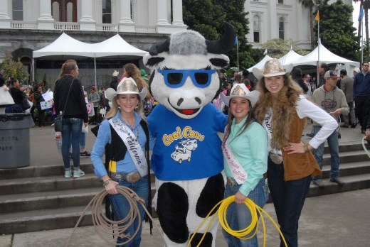 "It wouldn't be Ag Day at the California Capitol without ""Cool Cow"" and our rodeo queens (from left): Brittney Phillips, Miss Rodeo California; Megan Ford, Miss California Rodeo Salinas; and Leandra Steenkamp, Miss Grand National Rodeo 2017."