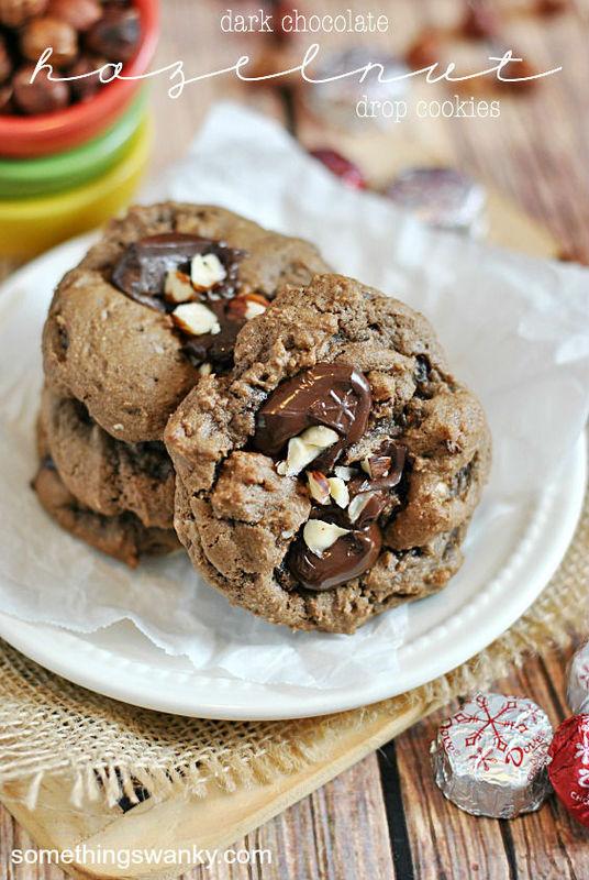 Dove Dark Chocolate and Hazelnut Cookies | www.somethingswanky.com