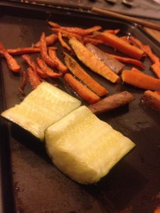 Roasted carrots, courgettes and sweet potatoes