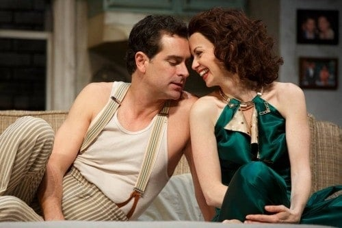 Todd Gearhart (He) and Stacia Rice (She) in the Guthrie Theater's production of STAGE KISS, by Sarah Ruhl, directed by Casey Stangl with set design by Todd Rosenthal, costume design by Devon Painter and lighting design by Tom Mays. July 18 - August 30, 2015 on the McGuire Proscenium Stage at the Guthrie Theater, Minneapolis. Photo by Joan Marcus.