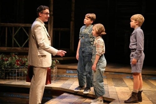 "Atticus Finch (Baylen Thomas), Jeremy Atticus ""Jem"" Finch (Noah Deets), Jean Louise ""Scout"" Finch (Mary Bair) and Charles Baker ""Dill"" Harris (Isaac Leer). Photo by Joan Marcus."