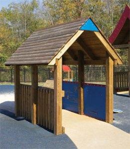 Wood playground wooden covered bridge
