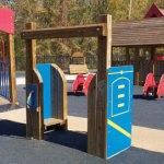 Wood playground wooden drive-thru gas pumps