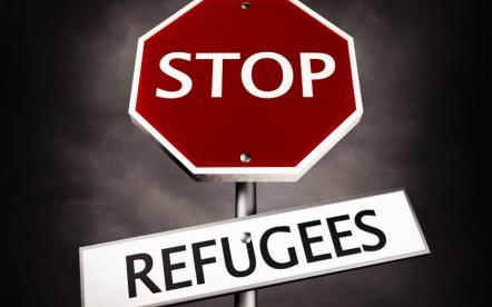 stop sign, refugees sign