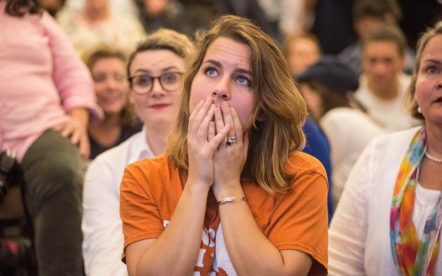 A Hillary Clinton supporter watches in disbelief as results roll in, during an election night watch party on November 9, 2016 in Austin, Texas. (Sandy Carson/Zuma Press/TNS)