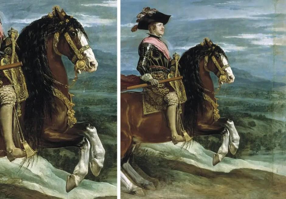 Détails du portrait équestre de Philippe IV par Velasquez