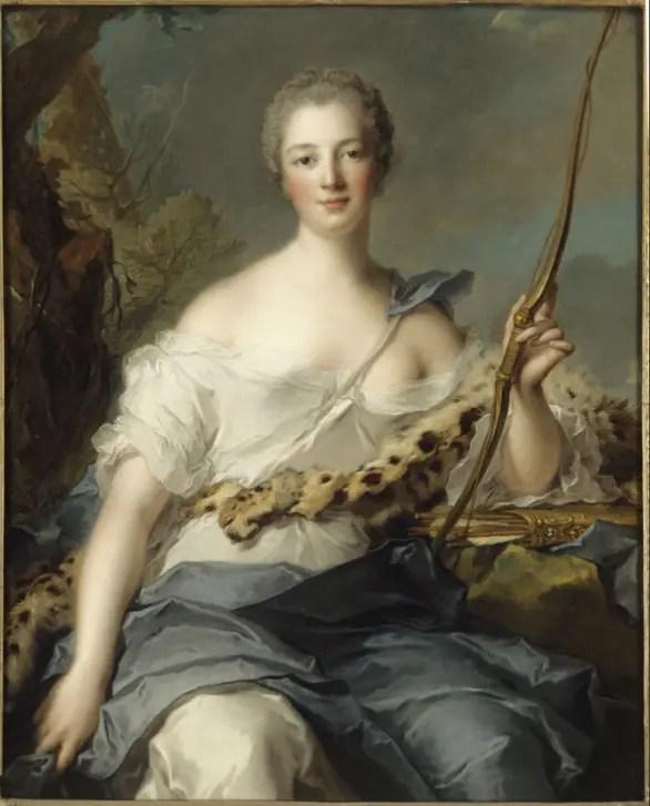 Jeanne-Antoinette Poisson, marquise de Pompadour, en Diane Chasseresse par Nattier (collections du château de Versailles)